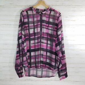 Harley-Davidson blouse plaid sheer shirt sz 2XL